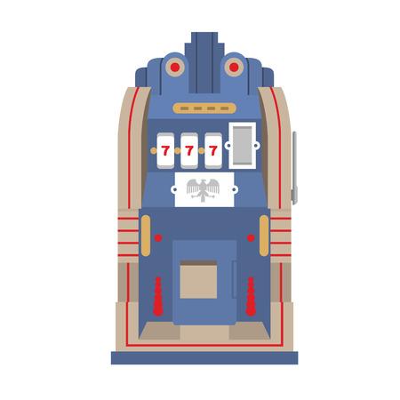 Slot machine The Silent Bell. Retro gambling casino item. Vector illustration.