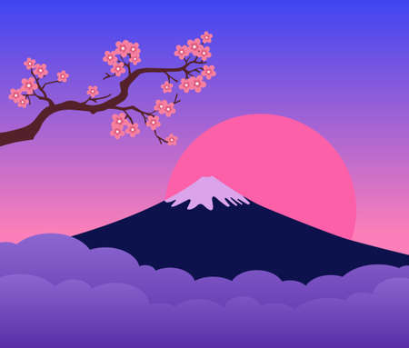 Mountain Sunset and Cherry Blossoms Branch. Colorful landscape. Symbol of Japan. Ilustrace