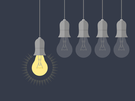 Light bulbs hanging with glowing one over dark background. Business concept idea. Vector illustration.