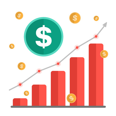 Growing money concept. Dollar sign with chart, rising arrow and coins. Vector illustration