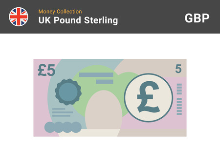 5 Pound sterling banknote. British money. Currency. Vector illustration. Vectores