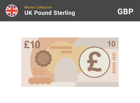 10 Pound sterling banknote. British money. Currency. Vector illustration. 矢量图像