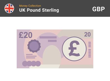 Billet de 20 livres sterling. L'argent britannique. Devise. Illustration vectorielle. Vecteurs