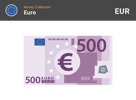500 Euro banknote. Paper money. Flat Style. Vector illustration. Ilustrace