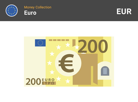 200 Euro banknote. Paper money. Flat Style. Vector illustration.