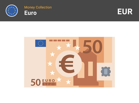 50 Euro banknote. Paper money. Flat Style. Vector illustration. Vettoriali