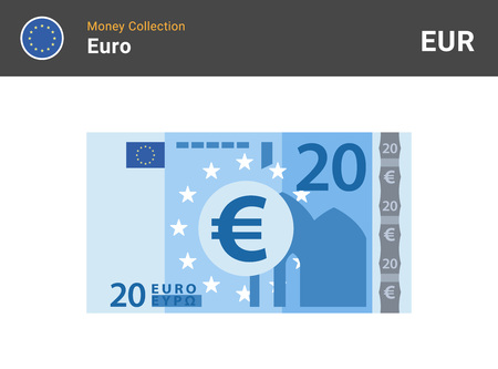 20 Euro banknote. Paper money. Flat Style. Vector illustration.