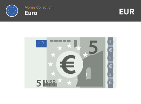 5 Euro banknote. Paper money. Flat Style. Vector illustration.