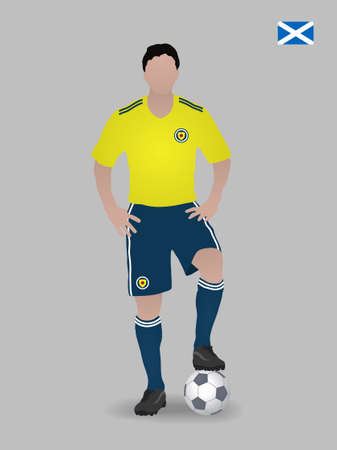 Soccer player with ball. Scotland national football team. Vector illustration Çizim