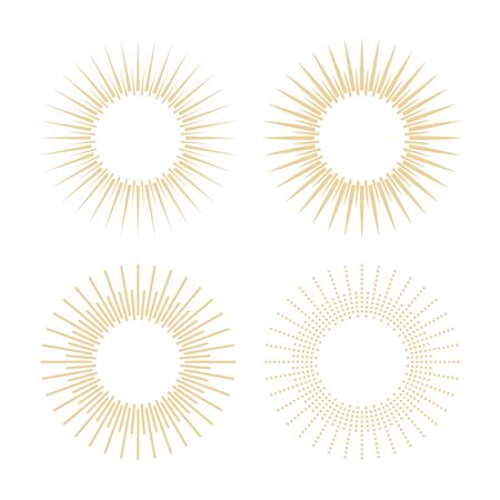Rays of the sun in vintage style. Linear drawing. Sunburst light icons. Illustration