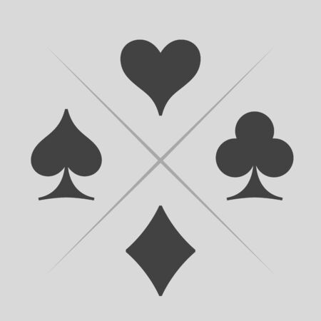 Playing cards suits icons. Spades, hearts, diamonds, clubs signs. Poker game symbol. Vector illustration.