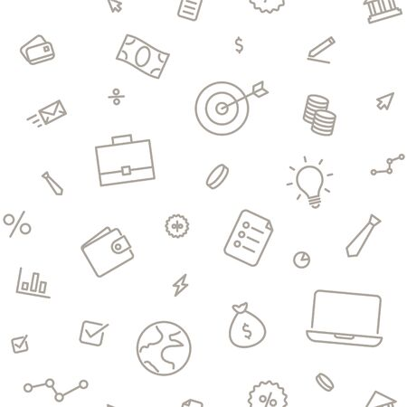 Seamless pattern business and finance. Thin line icons on white background. 向量圖像