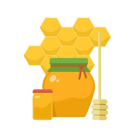 Organic honey products icon. Jars with honey, honeycombs and wooden stick. Organic food. Vector flat illustration.