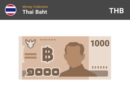 Thai baht 1000 banknone. Paper money of Thailand. One thousand THB. Flat icon style. Currency symbol. Vector illustration.