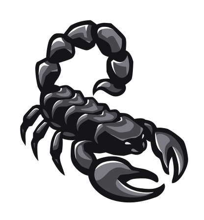 Scorpion illustration logo sticker. Graphical drawn monochrome sign. Horoscope stylised symbol.