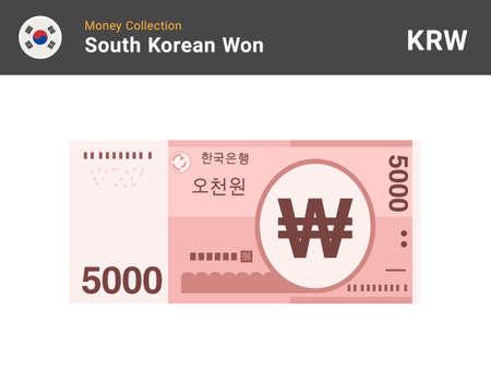 South Korean won banknone. Paper money 5000 KRW. Official currency cash. Flat style. Simple minimal design. Vector illustration. Иллюстрация