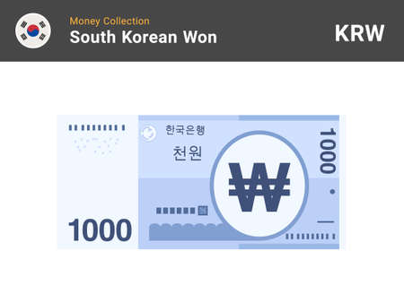 South Korean won banknone. Paper money 1000 KRW. Official currency cash. Flat style. Simple minimal design. Vector illustration.