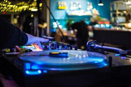 DJ vinyl players in dark nightclub, party in the dance club Archivio Fotografico