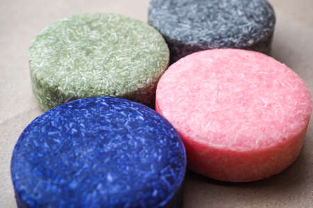 Colorful round solid shampoo bars, zero waste 스톡 콘텐츠