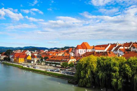 Maribor/Slovenia - July 20, 2020: Panorama of Maribor city, Slovenia. Drava River