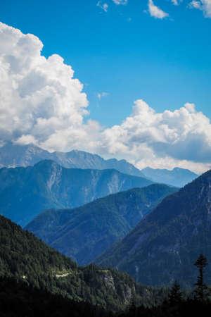 So�a/Slovenia - July 22, 2020: Vrši� Pass - a high mountain pass across the Julian Alps in northwestern Slovenia, defocused Banco de Imagens