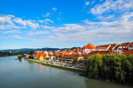 Maribor/Slovenia - July 20, 2020: Panorama of Maribor city, Slovenia. Drava River. Defocused