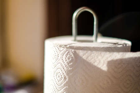 Close up on a roll of kitcen paper towels. Selective focus Standard-Bild - 164137983