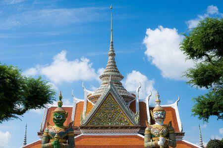 southeastern asia: giant guardian, watarun temple in Thailand