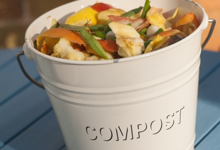 compost: Bucket and compost Stock Photo