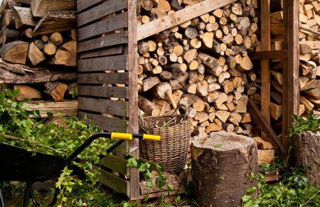 Wheelbarow and Logs photo