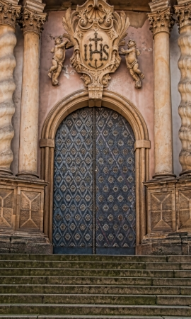 pewter: Ornamental Cathedral Door set in Stone