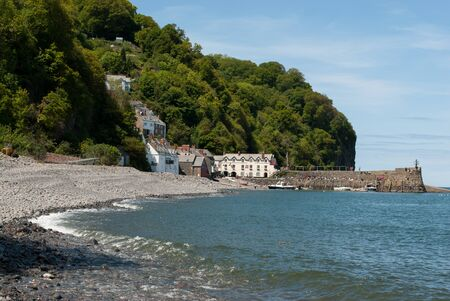 cornwall: Clovelly Cornwall with beach in foreground