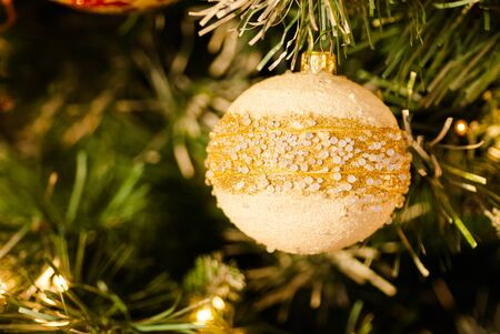 evocative: White Pearly Bauble on Christmas Tree