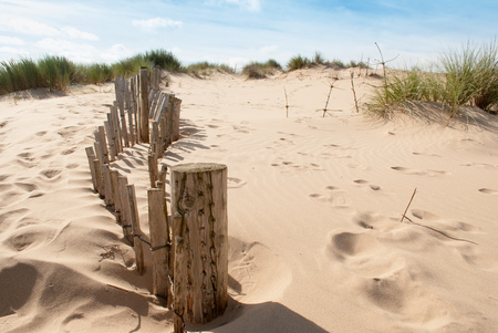 seascape image of broken fence to the left leading up a sand dune