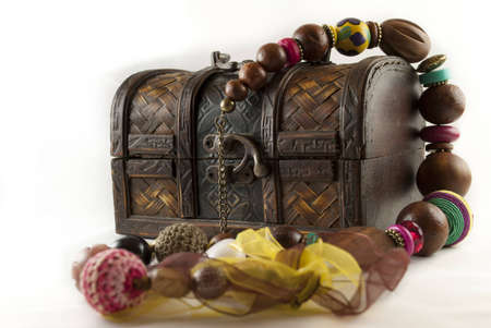 neckless: Photo of an isolated old jewelry box and a multi colored neckless