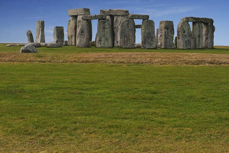 megalith: Stonehenge with blue clear sky