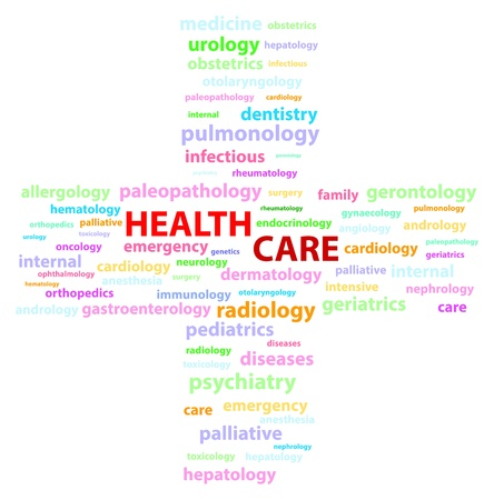 gerontology: Health Care Medical Specialities Illustration
