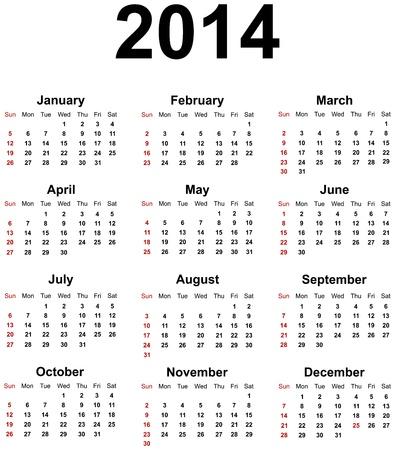 Calendar 2014 Stock Vector - 17872258
