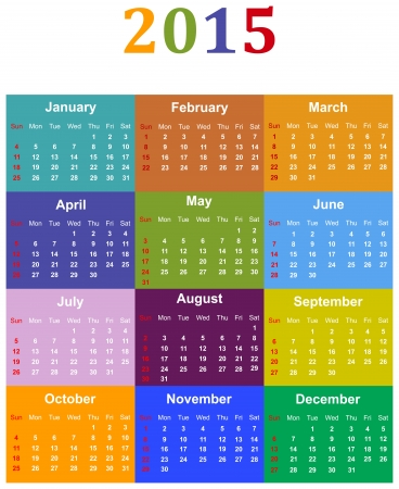 Colored Calendar For Year 2015 Stock Vector - 17872257