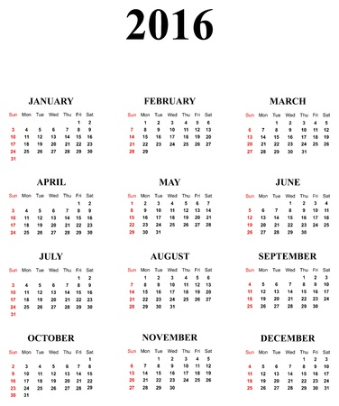 Calendar For Year 2016 Stock Vector - 17872261