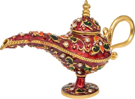 genie lamp: Red Genies Lamp With Precious Stones Isolated On White