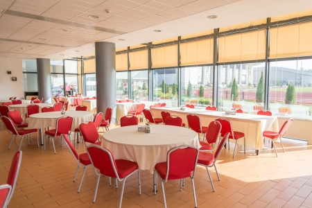 dining area: Interior Of A Modern Dining Hall Editorial