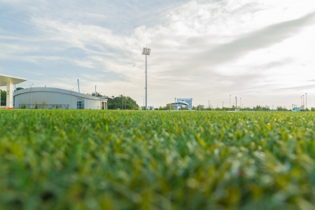 camping pitch: Ground View Of An Empty Stadium Arena With Football Field Editorial