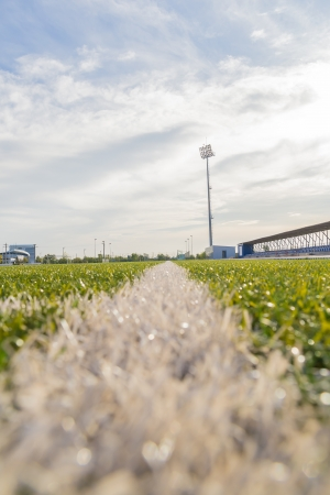 level playing field: Ground View Of An Empty Stadium Arena With Football Field Stock Photo