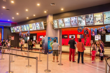 admissions: People Buying Tickets At The Movies In AFI Mall Cotroceni, Bucharest Editorial
