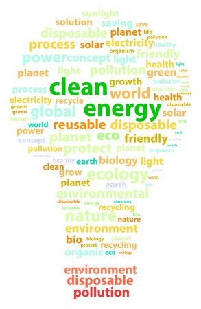 Clean Energy Words Represented By A Light Bulb Vector