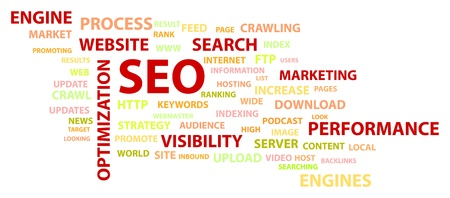 increase visibility: Search Engine Optimization SEO Words Related Concept Illustration