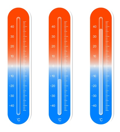 clinical thermometer: Illustration Of Three Thermometers Showing Hot and Cold Temperatures Illustration