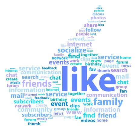 family discussion: Thumb Up Shape With Social Media Words