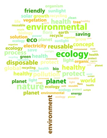 Ecology Related Words - Tree Shape Stock Vector - 18036629